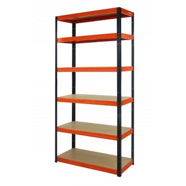 Helios Color 196x075x60 6p 400kg na półkę / Kolor: Czarno-Pomarańczowy