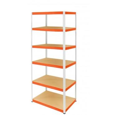 Helios Color 196x75x30 6p 275kg na półkę / Kolor: Biało-Pomarańczowy